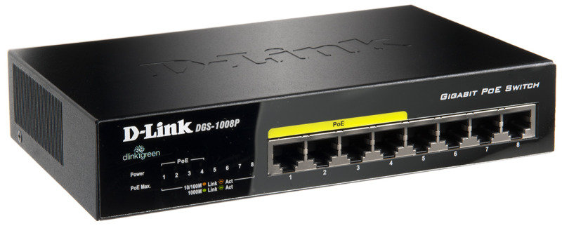 D-Link DGS-1008P 8-Port PoE Gigabit Desktop Unmanaged Switch