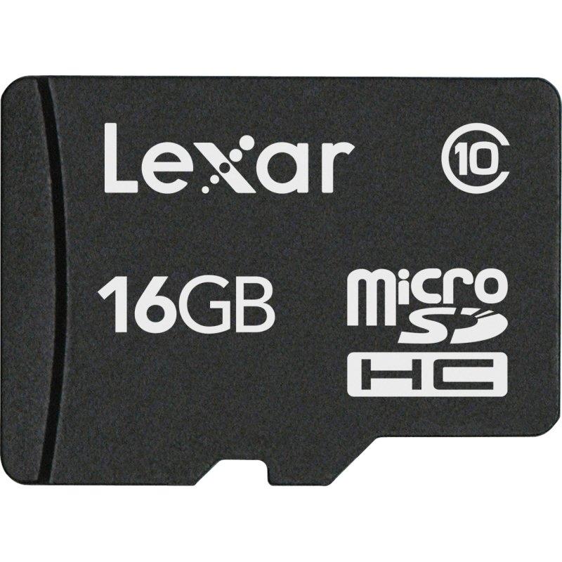 Image of 16GB Lexar Micro SDHC Memory Card C10