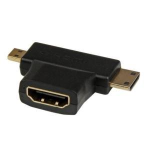 Hdmi  2-in-1 T-adapter - Hdmi To Hdmi Mini Or Hdmi Micro Combo Adapter   F/m