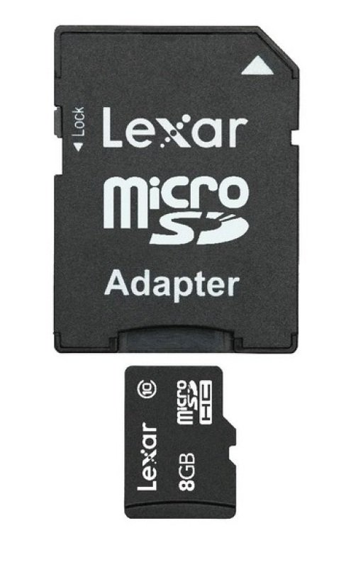 Image of 8GB Lexar microSDHC with Adapter Class 10