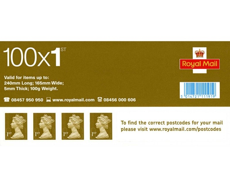 Royal Mail 1st Class Postage Stamps - 100 Pack