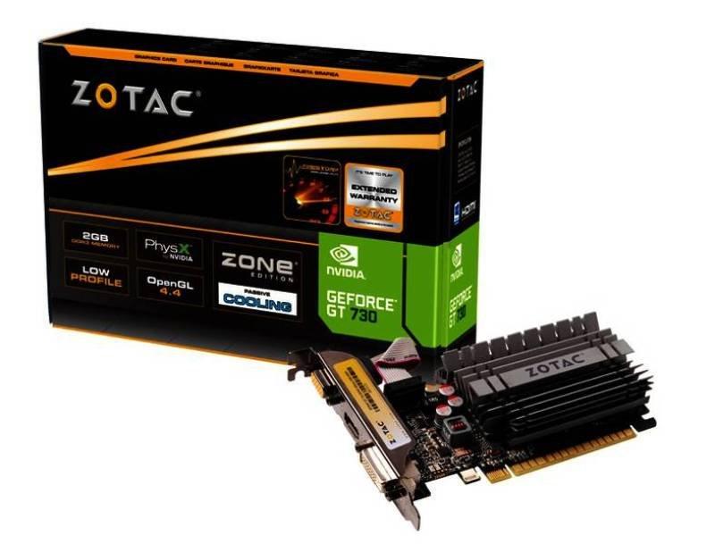 Zotac GeForce GT 730 2GB DDR3 VGA DVI HDMI PCIE Graphics Card