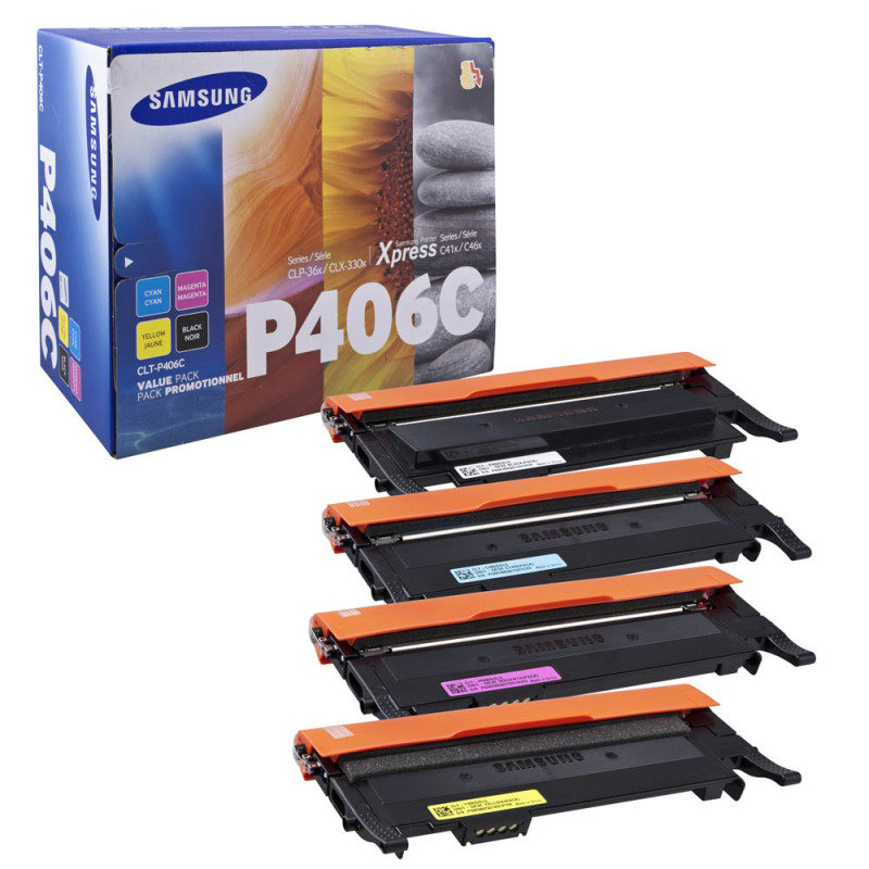 Samsung CLT-P406C Rainbow (CMYK) Multi-Pack Toner Cartridges - 1,500 Pages