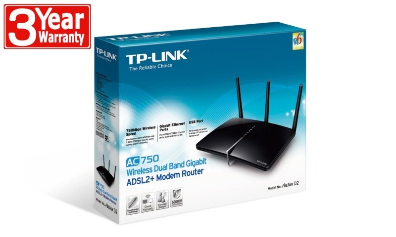 TP-Link Archer D2 - AC750 Wireless ADSL2+ Gigabit Modem Router