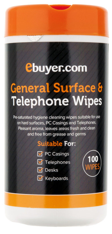 Ebuyer.com General Surface & Telephone Cleaning Wipes - 100 Pack