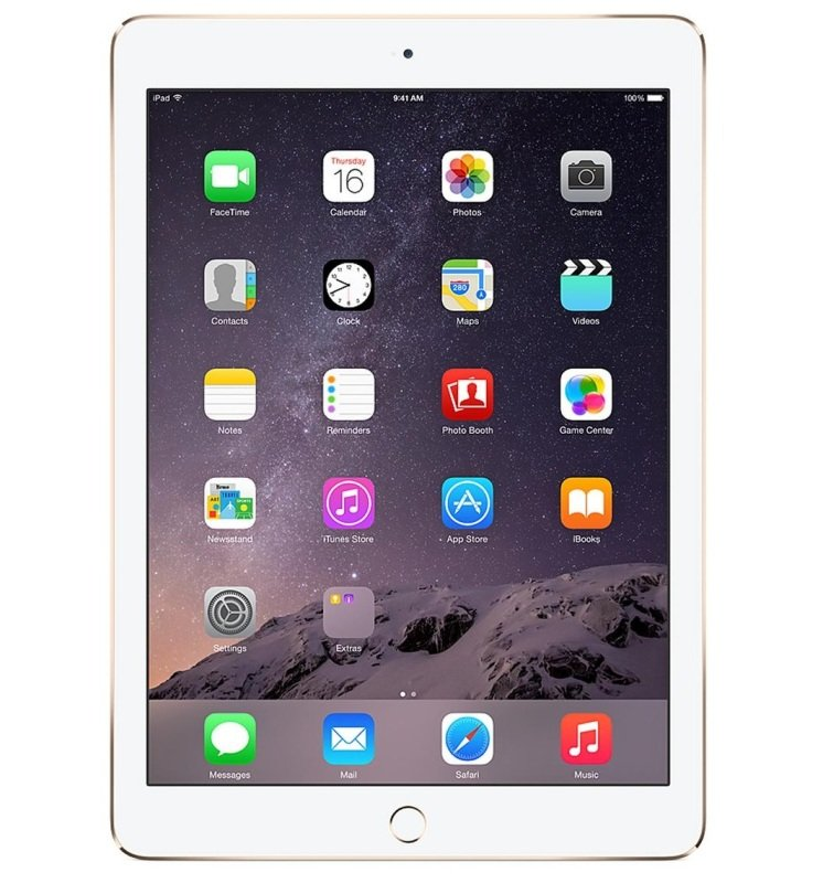 Image of Apple iPad Air 2, A8X CPU, 128GB Flash, 9.7in Retina, Wifi, 2 Cameras Bluetooth, Apple OS - Gold
