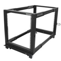 12u Adjustable Depth Open Frame 4 Post Server Rack W/ Casters / Levelers And Cable Management Hooks