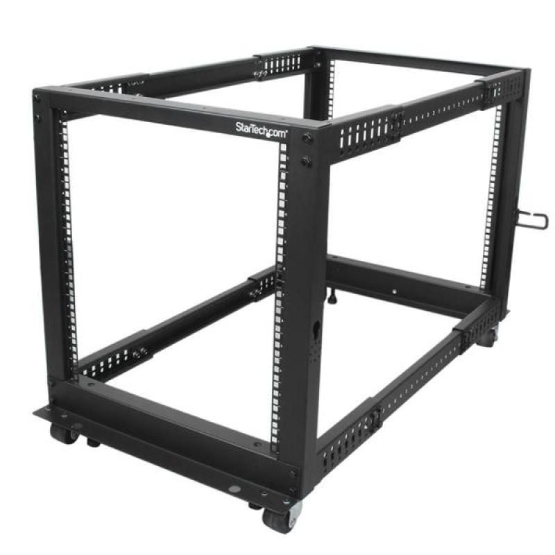 12u Adjustable Depth Open Frame 4 Post Server Rack W/ Casters / Levelers And Cable Management Hooks