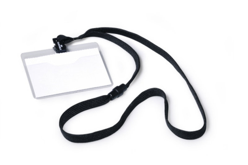 Durable Name Badge With Textile Necklace Black 10 Pack