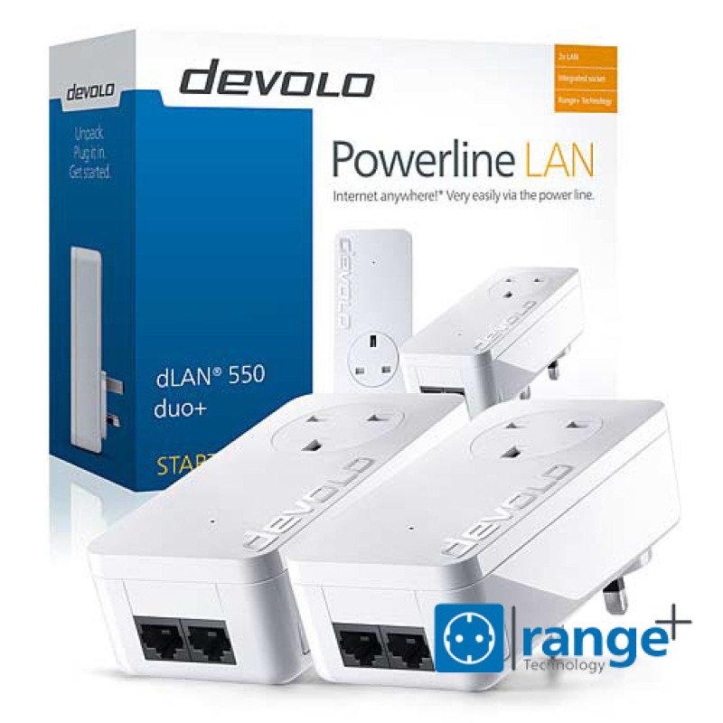Devolo 9299 - 550 Duo+ AV 500 Pass-Through Powerline Starter Kit