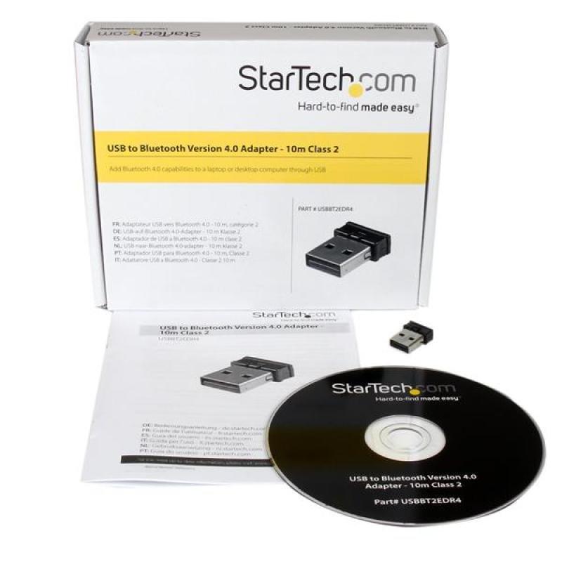 StarTech Mini USB Bluetooth® 4.0 Adapter - 10m (33ft) Class 2 EDR Wireless Dongle