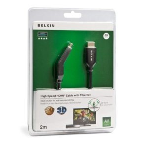 Belkin HDMI Cable Male/Male Dual Swivel with Ethernet Gold Plated in Black 2m - F3Y023bf2M