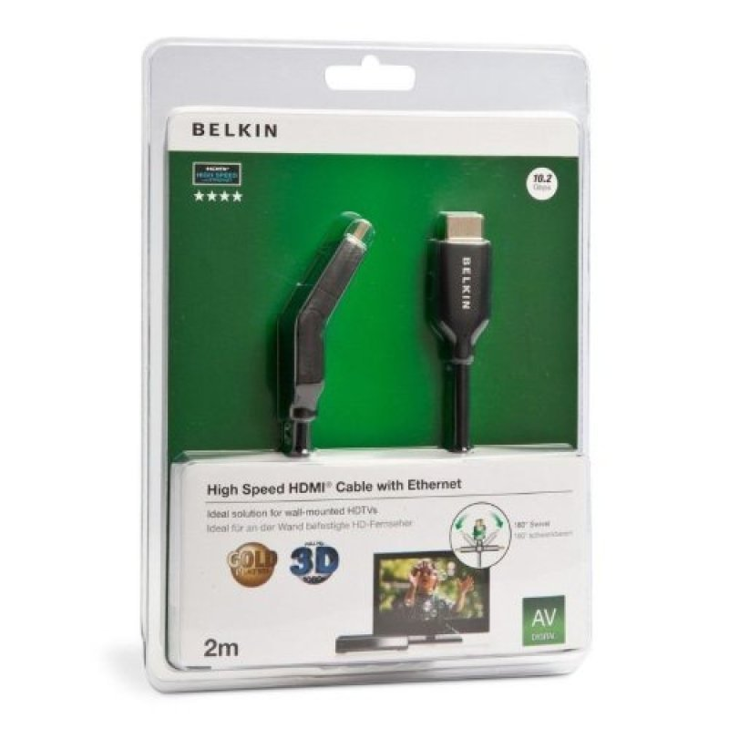Belkin HDMI Cable MaleMale Dual Swivel with Ethernet Gold Plated in Black 2m  F3Y023bf2M