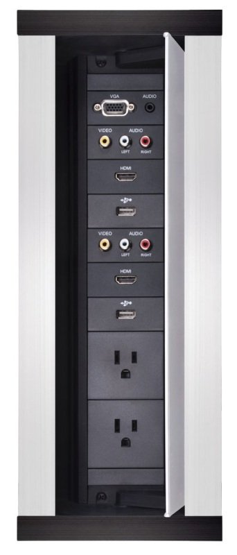 Image of HydraPort 12 Module Connection Port - Silver Model - Modular connectivity system accommodates the diverse needs of conference and meeting room visitors. Elegant flush-mount design conveniently opens in both directions