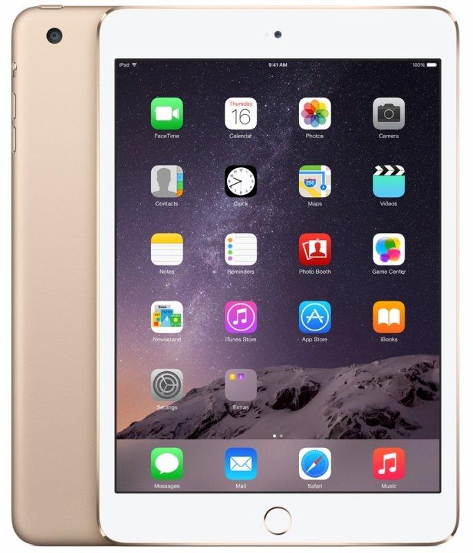 "Image of Apple iPad Mini 3 Cellular, A7 chip, 128GB Flash, 7.9"" Retina, Wifi, Cellular, Bluetooth, 2 Cameras, Apple iOS - Gold"