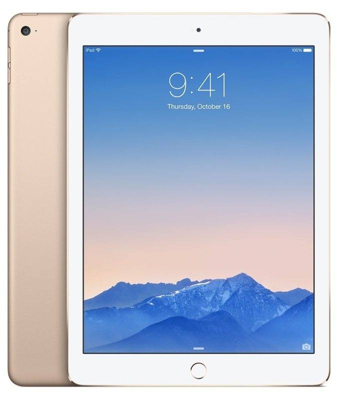 "Image of Apple iPad Air 2 Cellular, A8X chip, 64GB Flash, 9.7"" Retina, Wifi, Cellular, Bluetooth, 2 Cameras, Apple iOS - Gold"