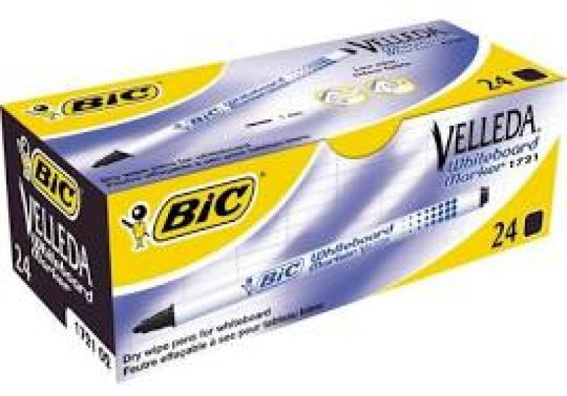 Bic Vellea Whiteboard Marker 1721 Black 24 Pack