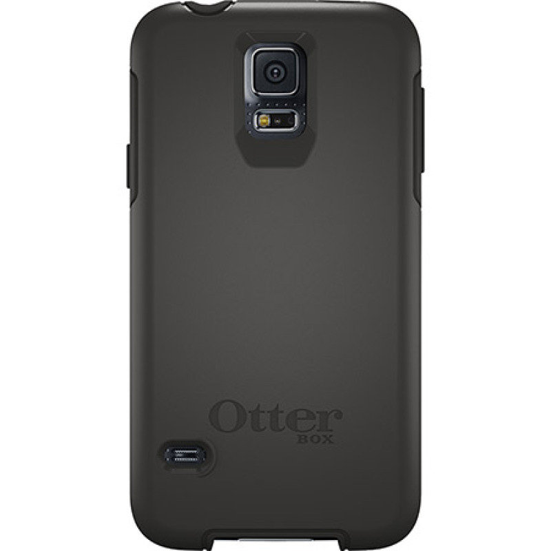 Image of OtterBox Symmetry Series - Protective cover for mobile phone - polycarbonate, synthetic rubber - black - for Samsung GALAXY S5