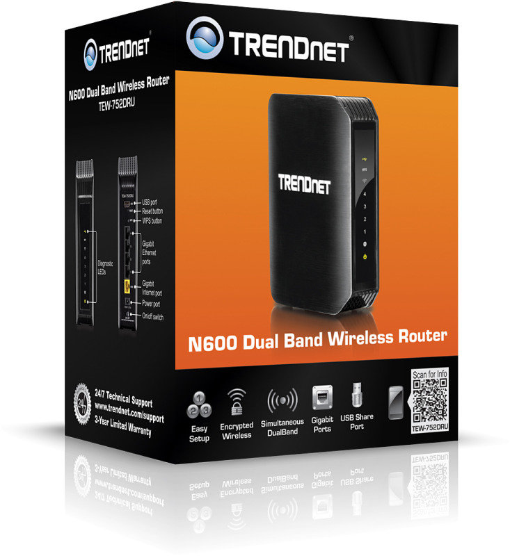 TRENDnet TEW-752DRU - N600 Dual Band Wireless Router