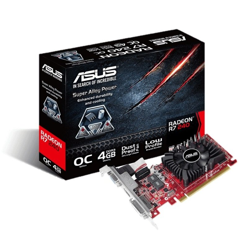 Asus R7 240 4GB DDR3 VGA DVI HDMI PCIE Graphics Card