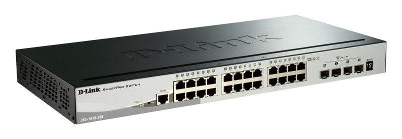 D-Link DGS-1510-28X - 28-Port Gigabit Stackable Smart Managed Switch including 4 10G SFP+