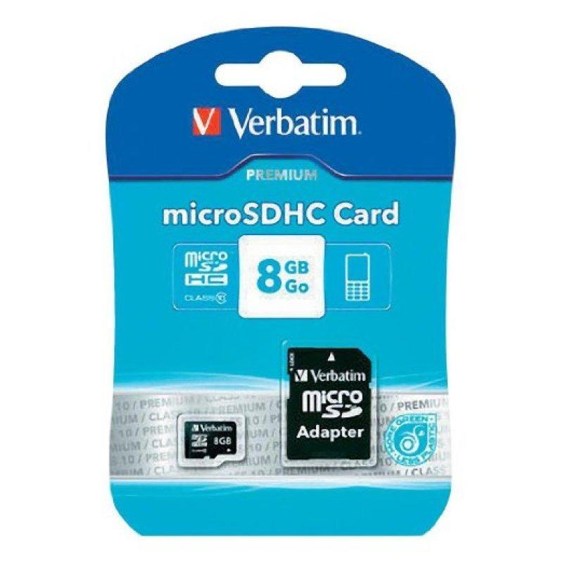 Verbatim Micro SDHC Class 10 8GB Adaptor Memory Card