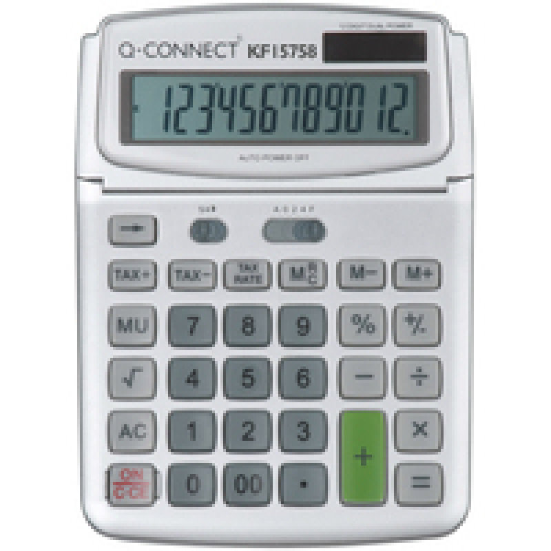Q-Connect Large Table Top 12 Digit Calculator Grey