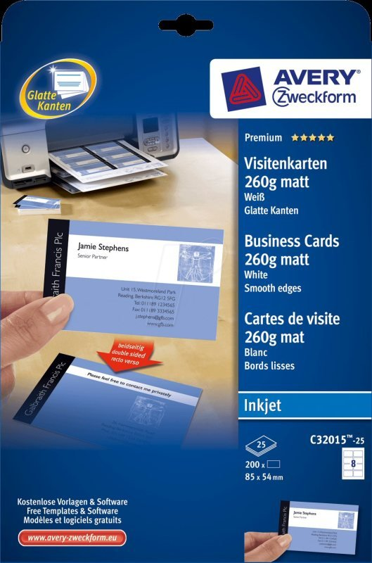 Avery Quick&Clean Double Sided 85x54mm Matte Inkjet Business Cards - 200 Pack