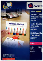 Avery Quick&Clean Double Sided 270gsm Satin Finish Business Cards - 250 Pack