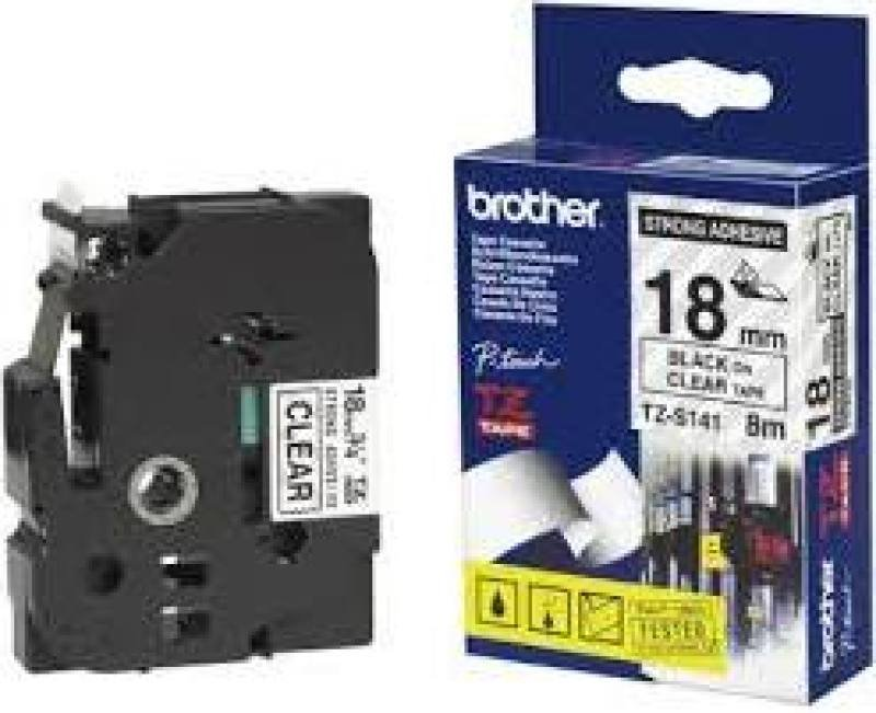 Brother Tze-s141 Special Tape 18mm - Black On Clear Strong Adhesive