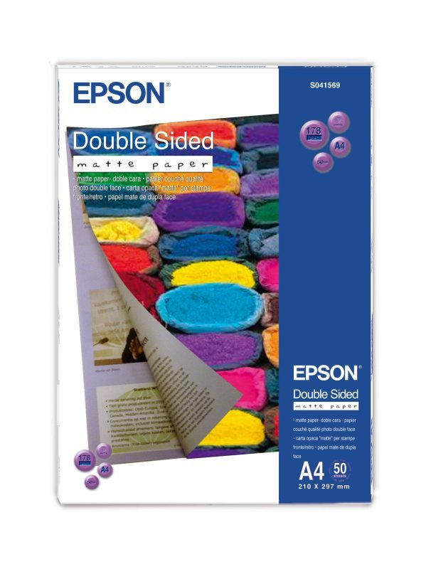 Epson A4 178gsm Double Sided Matte Photo Paper  50 Pack