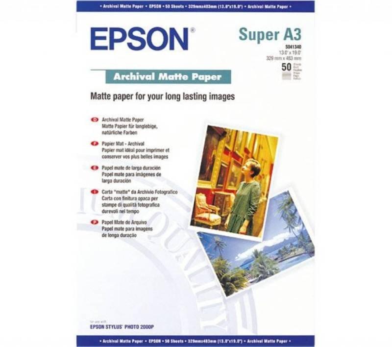 Epson Archival Super A3 192gsm White Matte Photo Paper - 50 Sheets