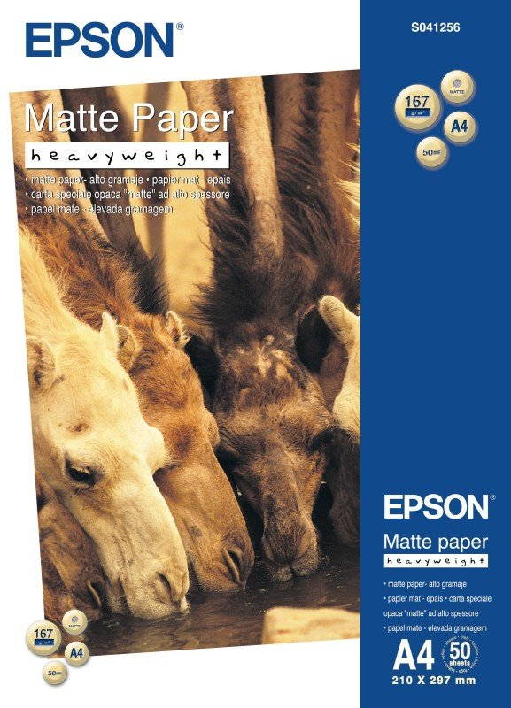 Epson Heavyweight A4 167gsm Bright White Matte Photo Paper  50 Sheets
