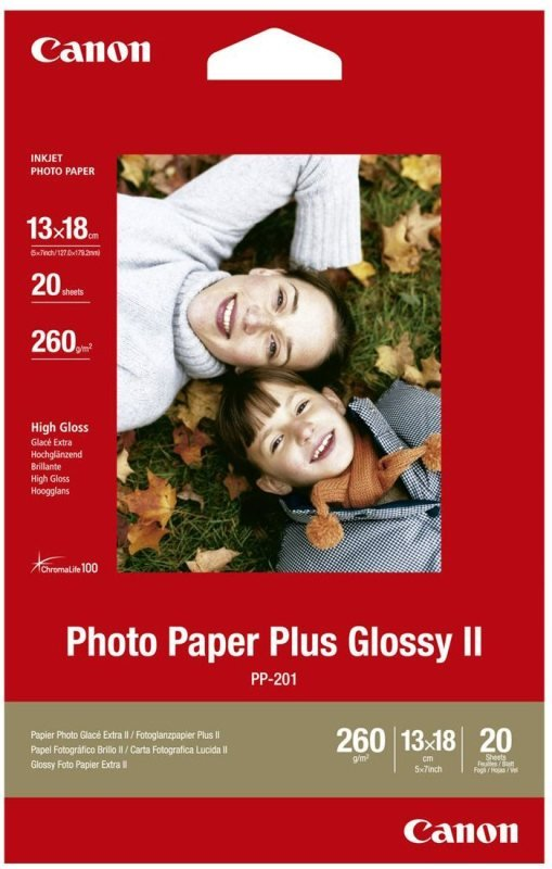 """Canon Plus II PP-201 5""""x7"""" 260gsm Glossy Photo Paper - 20 sheets"""