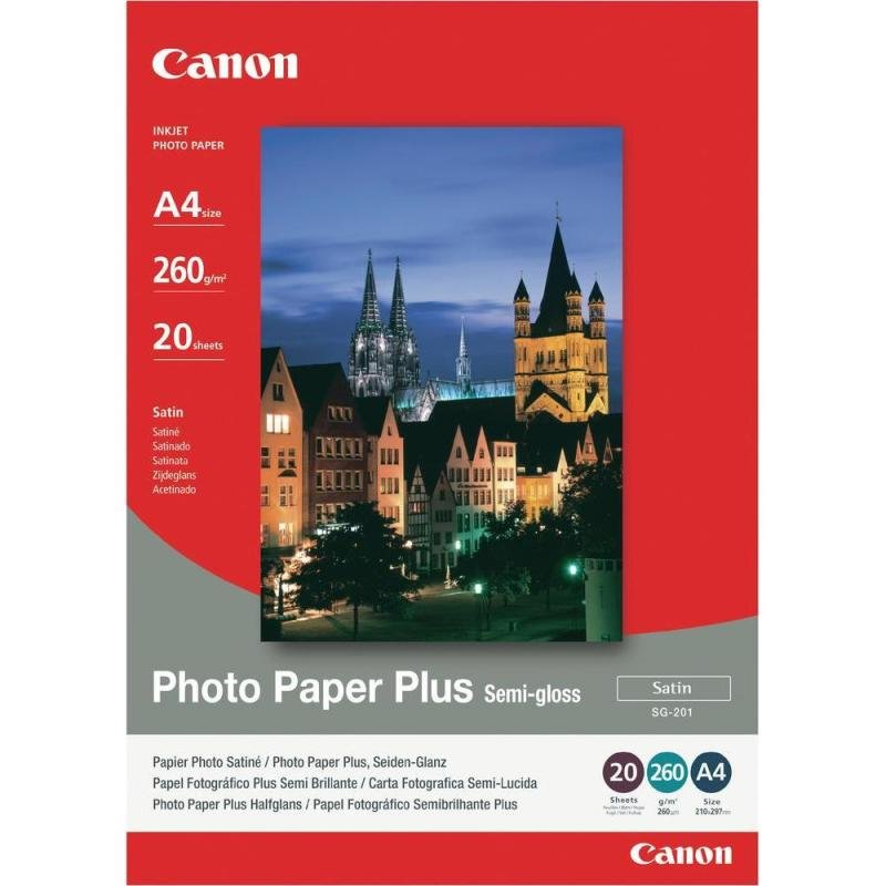 Canon Plus SG201 A4 260gsm SemiGloss Photo Paper  20 Sheets