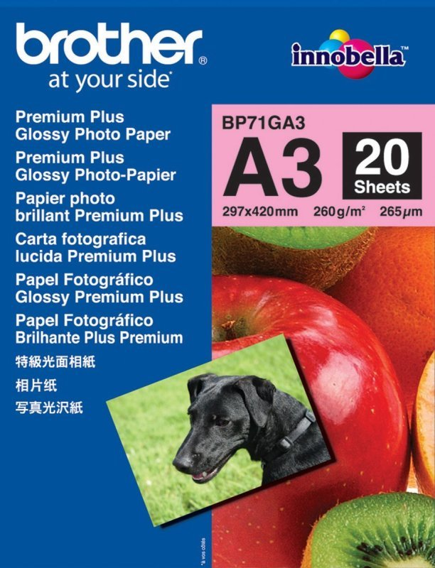 Brother Innobella Premium Plus A3 260gsm Glossy Photo Paper - 20 Sheets