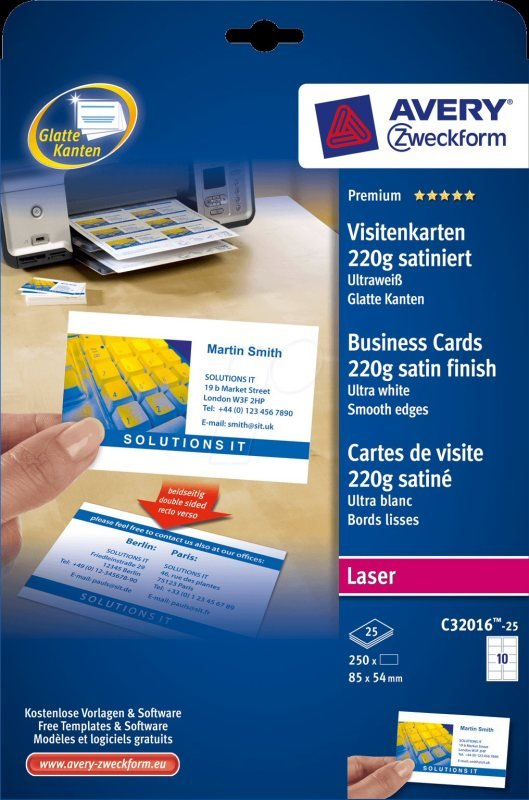 Avery Quick&Clean 220gsm 85 x 45mm Double Sided Laser Printer Business Cards - 250 Pack