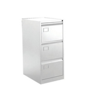 Bisley 3 Drawer Executive Filing Cabinet Chalk White