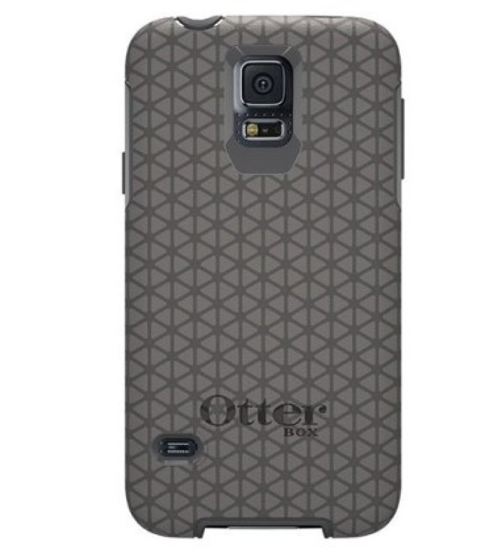 Image of OtterBox Symmetry Series - Protective cover for mobile phone - polycarbonate, synthetic rubber - triangle grey - for Samsung GALAXY S5