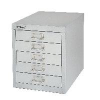 Bisley Non-Locking Multi-Drawer Cabinet 5 Drawer Silver