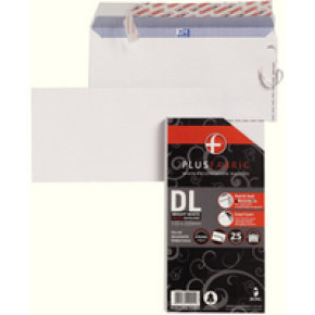 Plus Fabric Envelope DL 110gsm Peel and Seal White R10004 Pack of 25