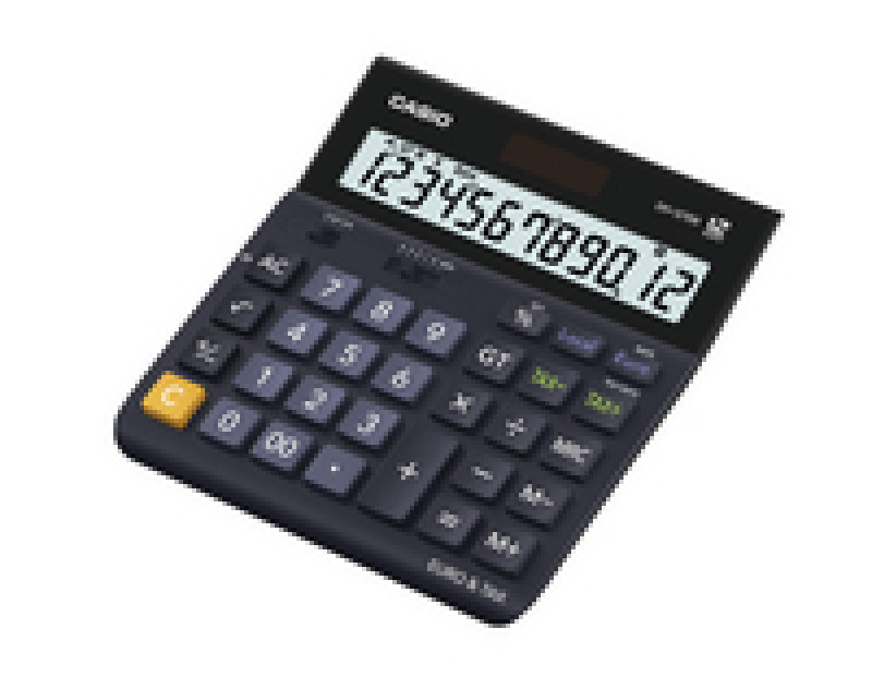 Casio 12 Digit Landscape TaxCurrency Calculator Black