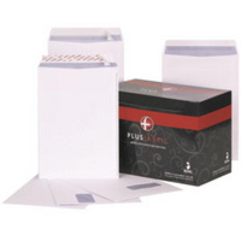Plus Fabric Envelope 120gsm Peel and Seal C4 White R10006 Pack of 25