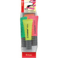 Stabilo Neon Highlighter Pk4 Asst 72/4-1