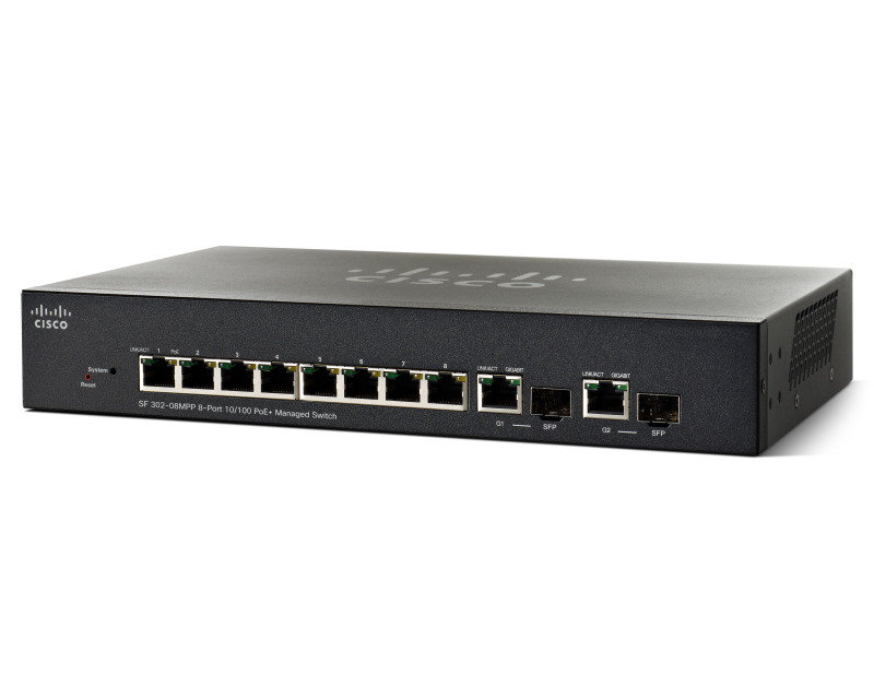 Cisco SF302-08MPP 8 Port Fast Ethernet Max PoE+ Managed Switch