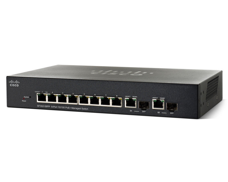 Cisco SF302-08PP 8 Port Fast Ethernet PoE+ Managed Switch