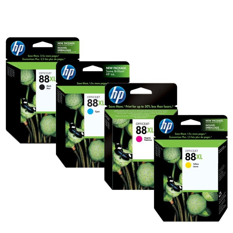 HP 88XL CMYK Ink Cartridge Bundle - C9396AE +C9391AE +C9392AE +C9393A