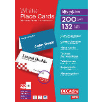 Decadry Perforated Place Card 85x46mm White Pk