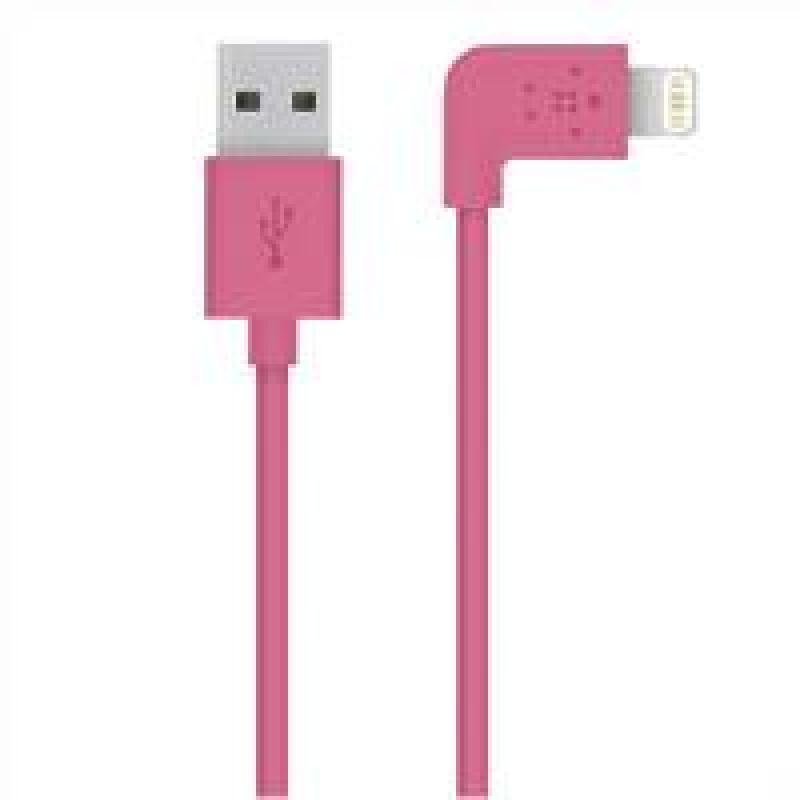 Image of Belkin FLAT 2.4amp Lightning Sync & Charge cable Compatible with Apple iPhone 5/iPad mini/iPad 4 in Pink 1.2m