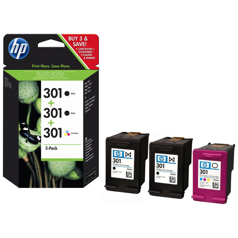 HP 301 Multi-pack 2x Black, 1x Tri-Colour OriginalInk Cartridge - Standard Yield 2x 190 Pages/1x 165 Pages - E5Y87EE